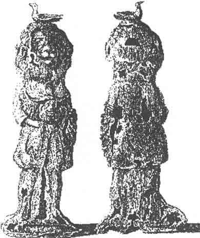 Гравюра Д. Вогена одной из фигурок храма Ретры